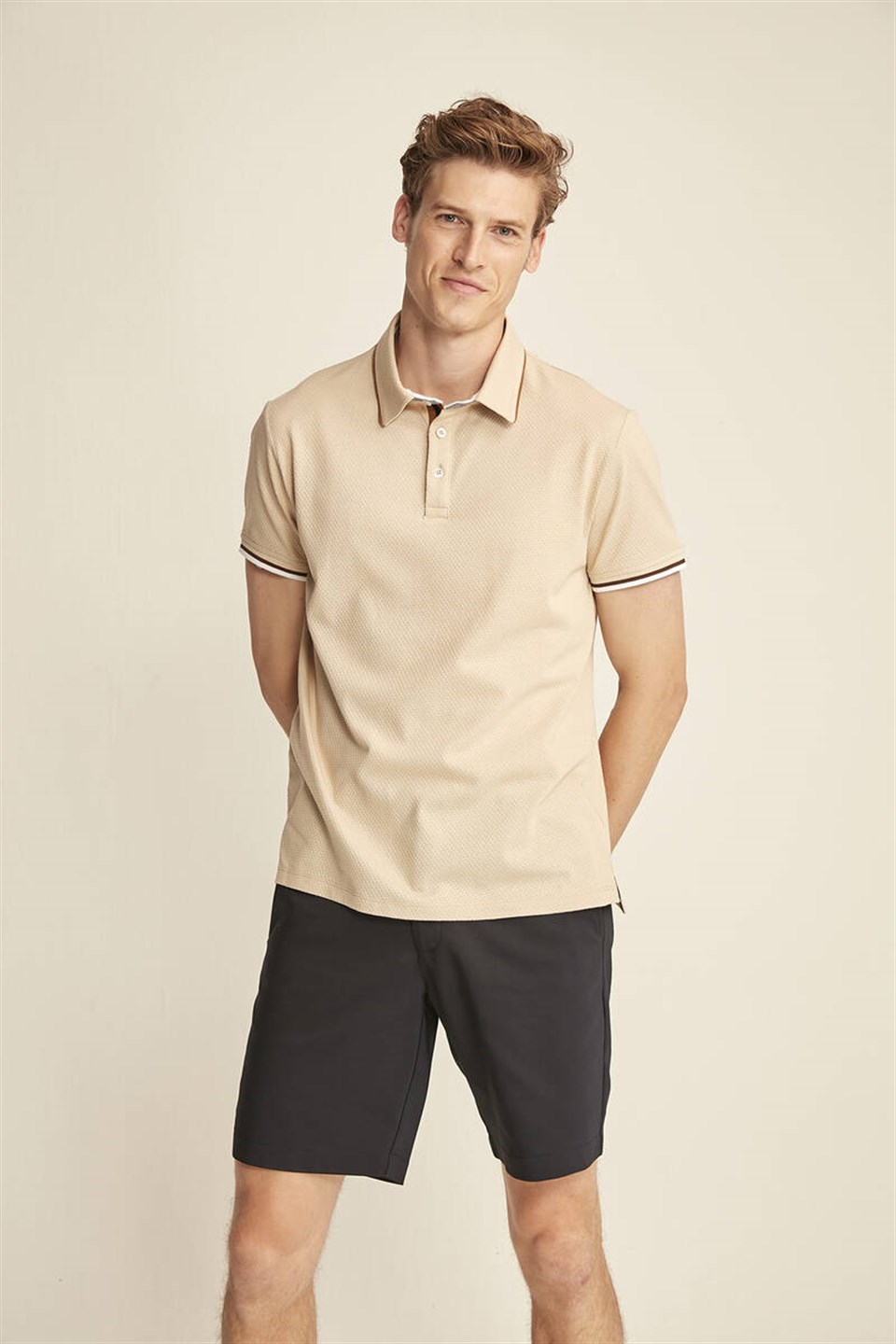 NOAH Erkek Bej Polo Yaka Slim Fit T-Shirt
