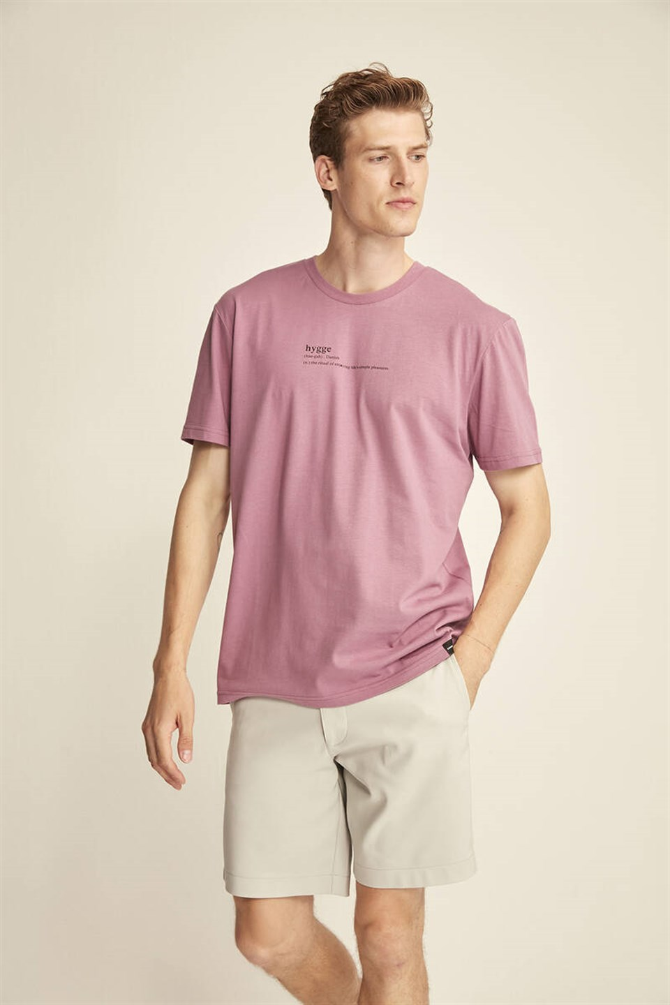 BRANDON Pembe Erkek Basic Baskili Slim Fit T-shirt