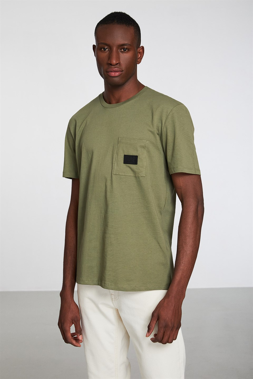ERIC Haki Erkek Basic Badgeli  Slim fit T-shirt